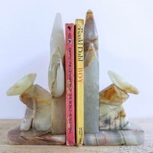 Other - Vintage Alabaster Marble Bookends Mexican Cactus